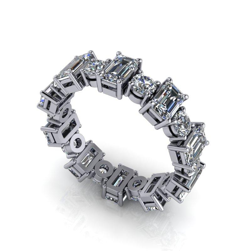 Emerald Cut & Round Moissanite Eternity Band 4.00 ctw-Bel Viaggio Designs