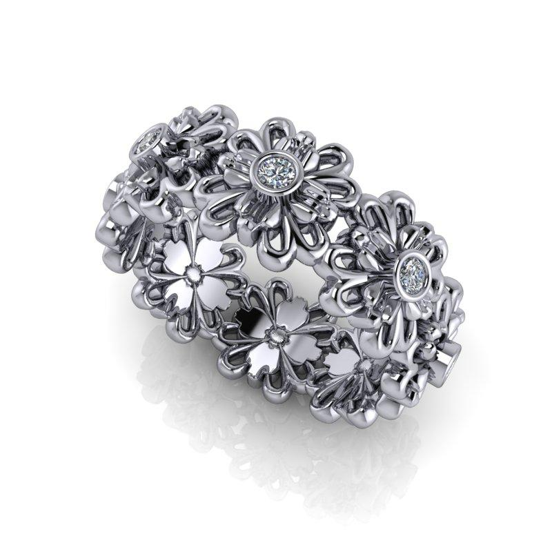 Lab Grown Diamond Flower Stacking Ring, .15 ctw-Bel Viaggio Designs