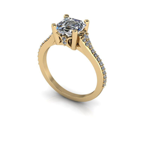 Forever One Moissanite Asscher Cut Engagement Ring 1.52 ctw-Bel Viaggio Designs