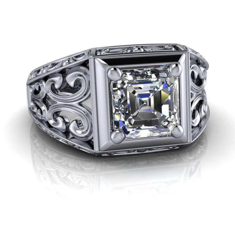 Forever One Moissanite Asscher Cut Vintage Style Ring 1.30 ctw-Bel Viaggio Designs