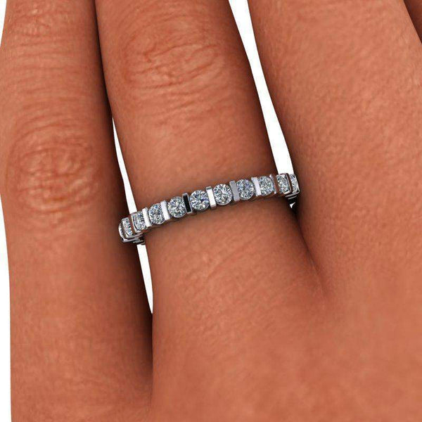 Forever One Moissanite Bar Set Partial Eternity Wedding Band .65 ctw-Bel Viaggio Designs
