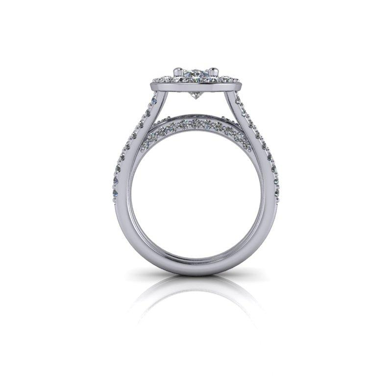 Forever One Moissanite Engagement Ring, Elongated Oval 3.24 ctw-Bel Viaggio Designs