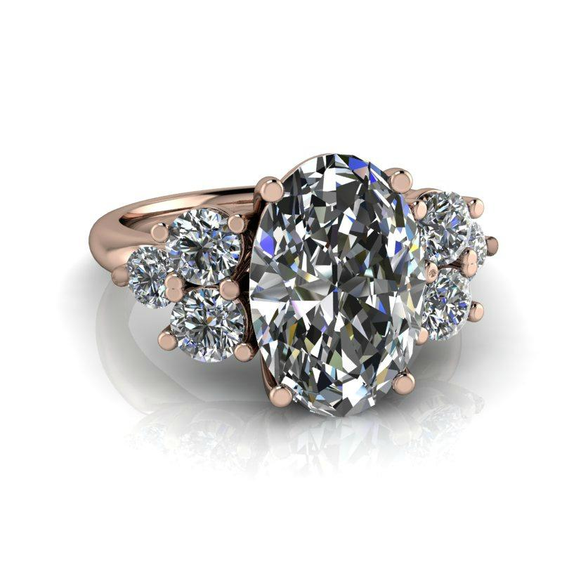 Forever One Moissanite Engagement Ring, Elongated Oval 5.23 ctw-Bel Viaggio Designs