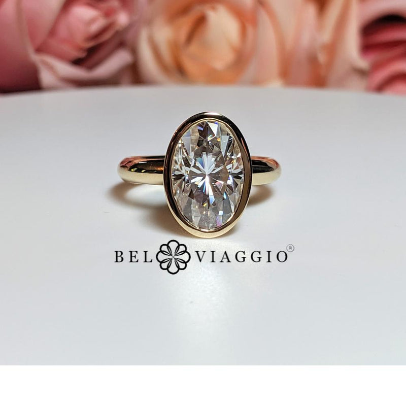 Forever One Moissanite Ring, Elongated Oval Bezel Set Ring 4.39 ctw-Bel Viaggio Designs