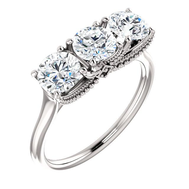 Colorless Moissanite Three Stone Anniversary Ring, 1.61 CTW-Bel Viaggio Designs