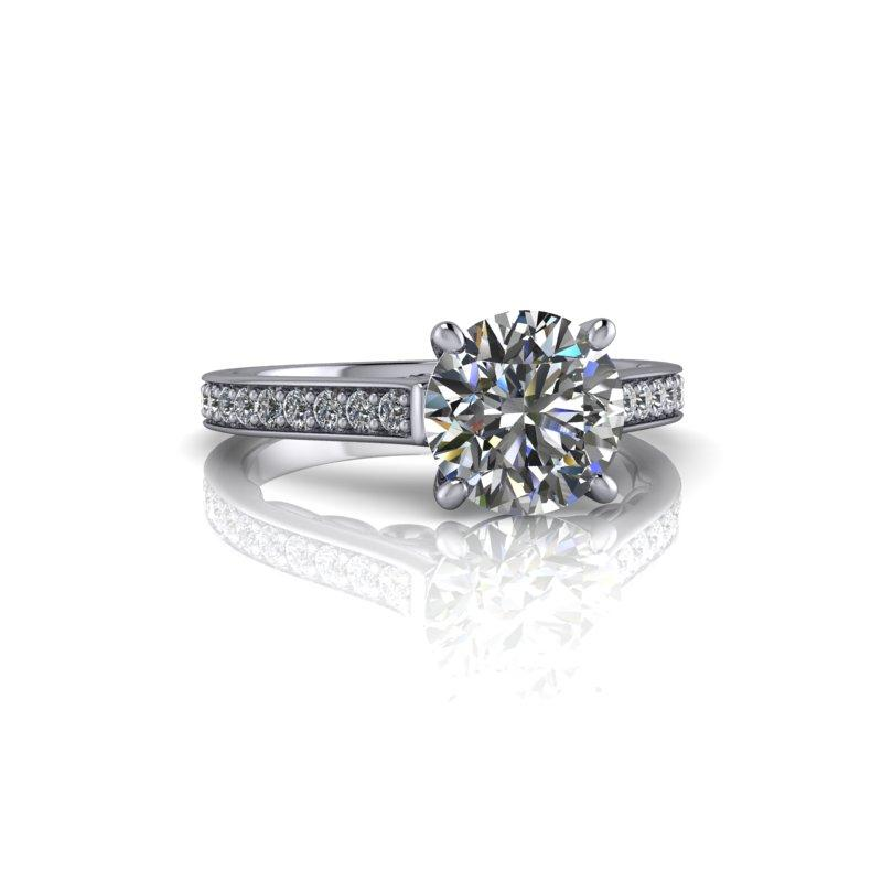 Forever One Moissanite Wedding Set, Antique Inspired 2.01 ctw-Bel Viaggio Designs