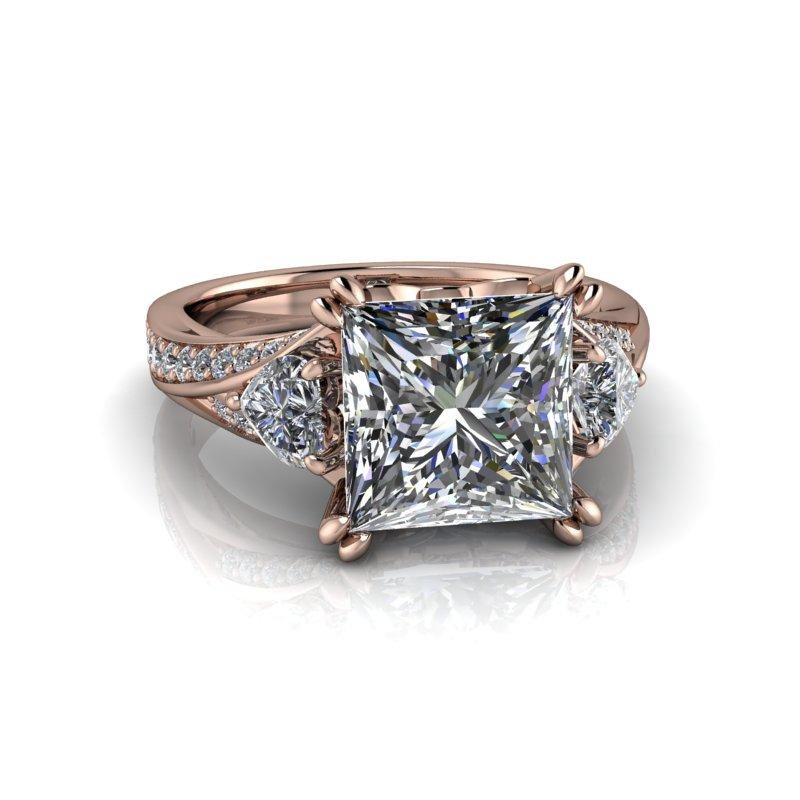 Heart & Princess Cut Moissanite Engagement Ring 3.69 ctw-Bel Viaggio Designs