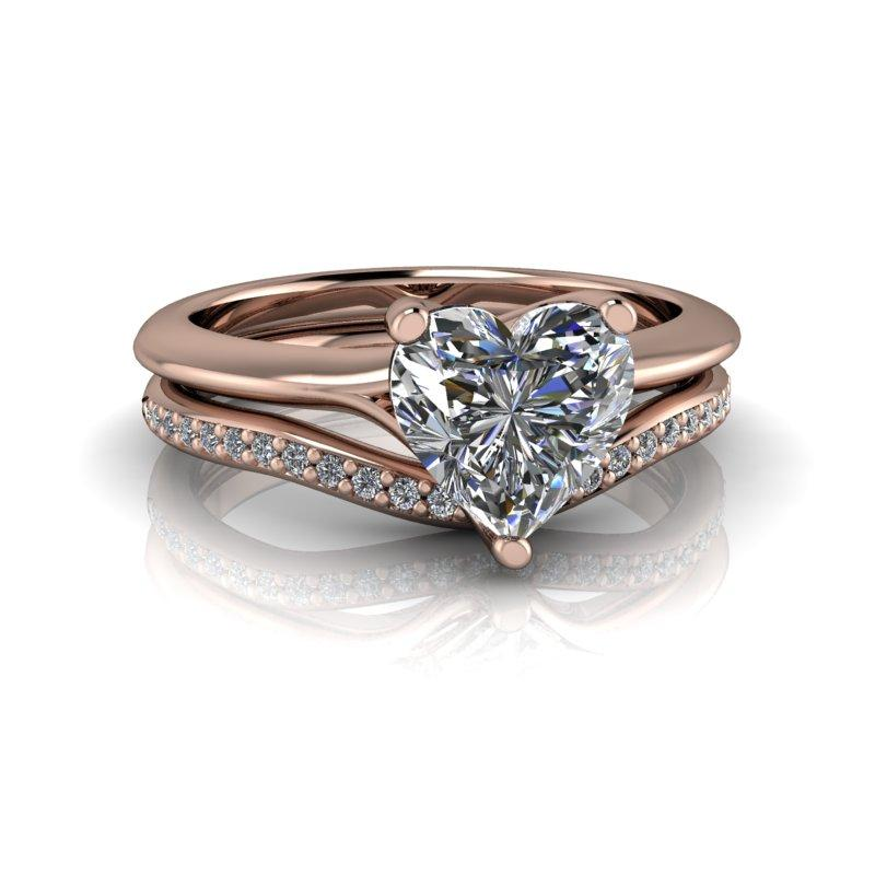 Heart Shape Moissanite Engagement Ring/Bridal Set 1.30 ctw-Bel Viaggio Designs