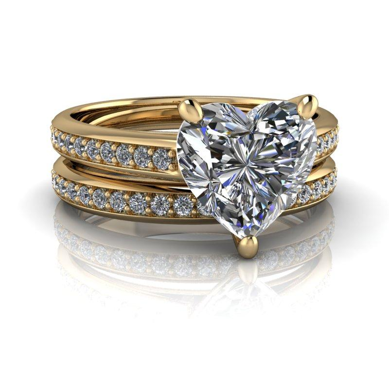 Heart Shape Moissanite Engagement Ring/Bridal Set 2.10 ctw-Bel Viaggio Designs