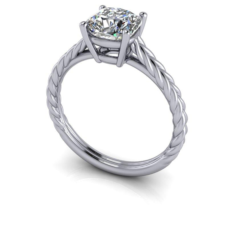 Hearts & Arrows Cushion Cut Forever One Moissanite Engagement Ring 1.28 ctw-Bel Viaggio Designs