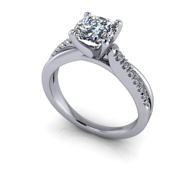 Hearts & Arrows Cushion Cut Forever One Moissanite Engagement Ring 1.42 ctw-Bel Viaggio Designs