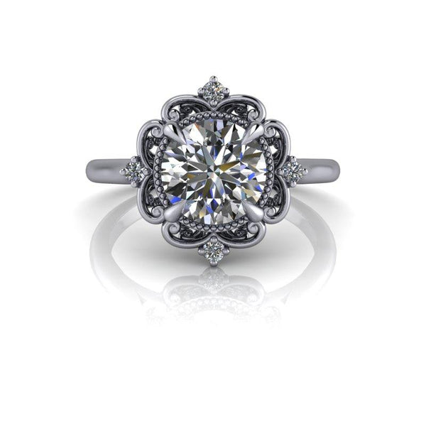 Hearts & Arrows Forever One Moissanite Engagement Ring 1.55 ctw-Bel Viaggio Designs