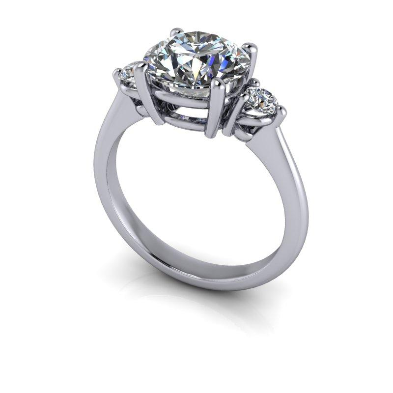 Hearts & Arrows Forever One Moissanite Engagement Ring 2.46 ctw-Bel Viaggio Designs