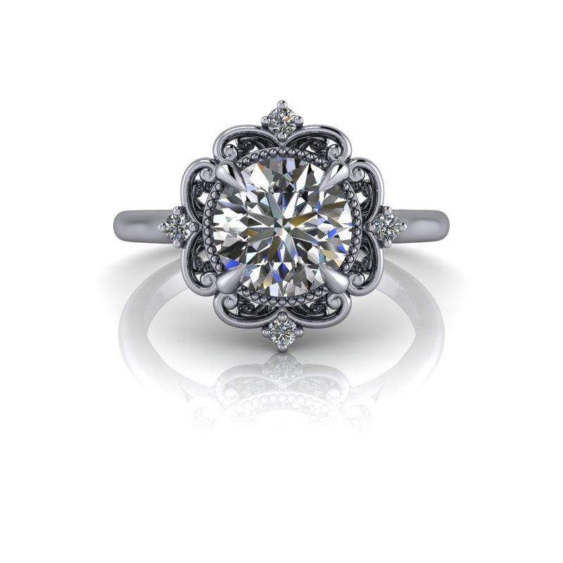 Hearts & Arrows Forever One Moissanite Engagement Ring/Bridal Set 1.60 ctw-Bel Viaggio Designs