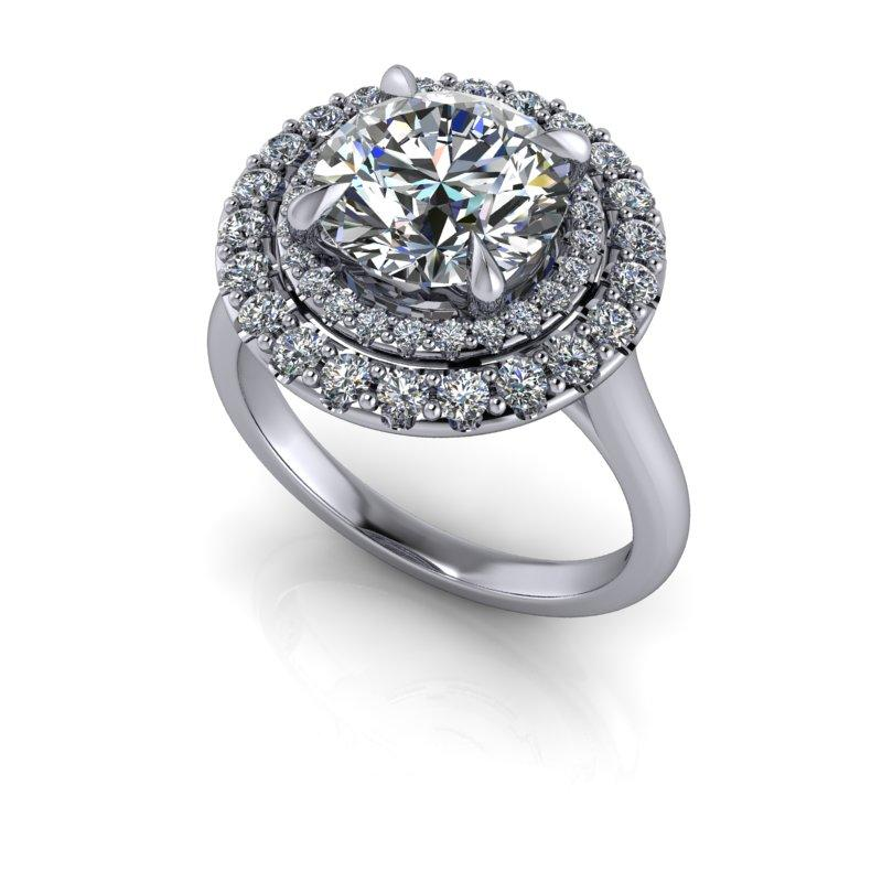 Round Colorless Moissanite Halo Engagement Ring/Bridal Set 2.72 ctw-Bel Viaggio Designs