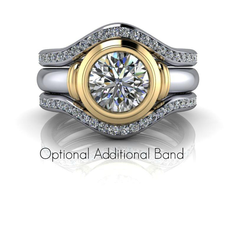 Hearts & Arrows Round Forever One Moissanite Bezel Set Ring and Wedding Band-Bel Viaggio Designs