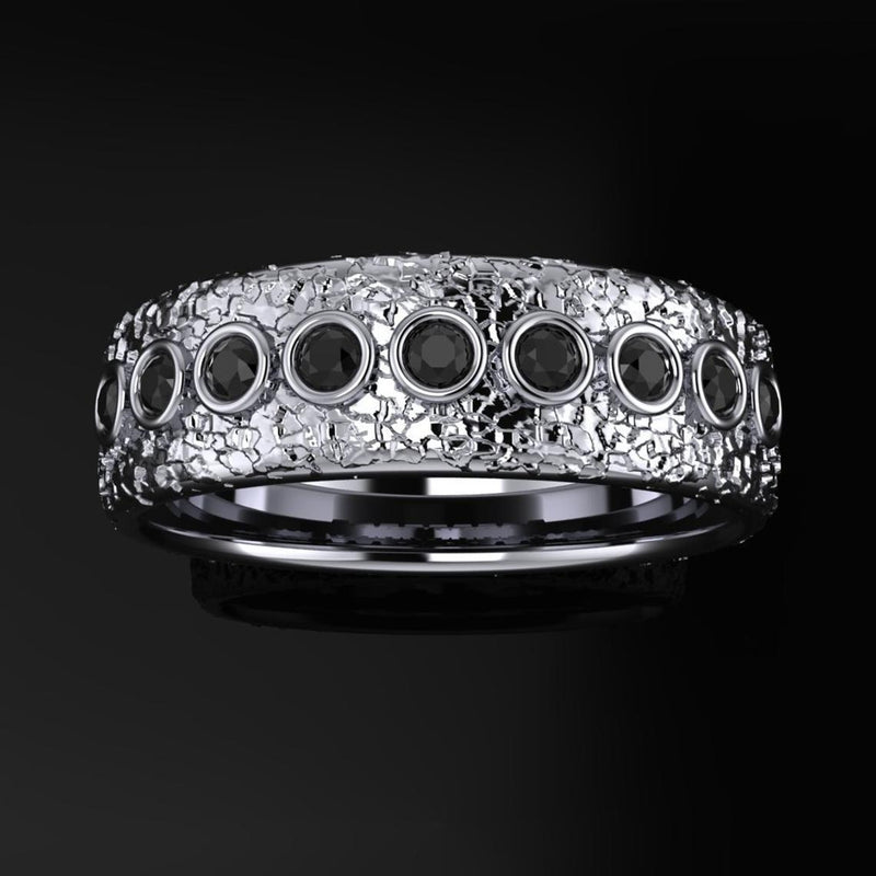 Men's Black Diamond Wedding Band Textured 7mm-Bel Viaggio Designs