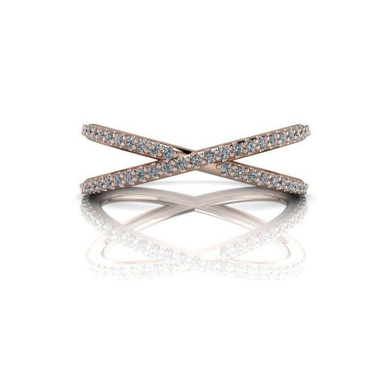 Criss Cross Band Wedding Band or Stacking Ring .30 ct-Bel Viaggio Designs