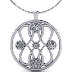 Large Pendant Infinity Necklace Colorless Moissanite Necklace, 2.23 CTW-Bel Viaggio Designs, LLC