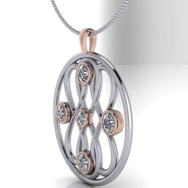 Large Pendant Infinity Necklace Colorless Moissanite Necklace, 2.23 CTW-Bel Viaggio Designs