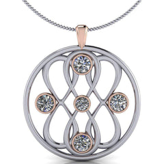 Large Pendant Infinity Necklace Colorless Moissanite Necklace, 2.23 CTW-BVD