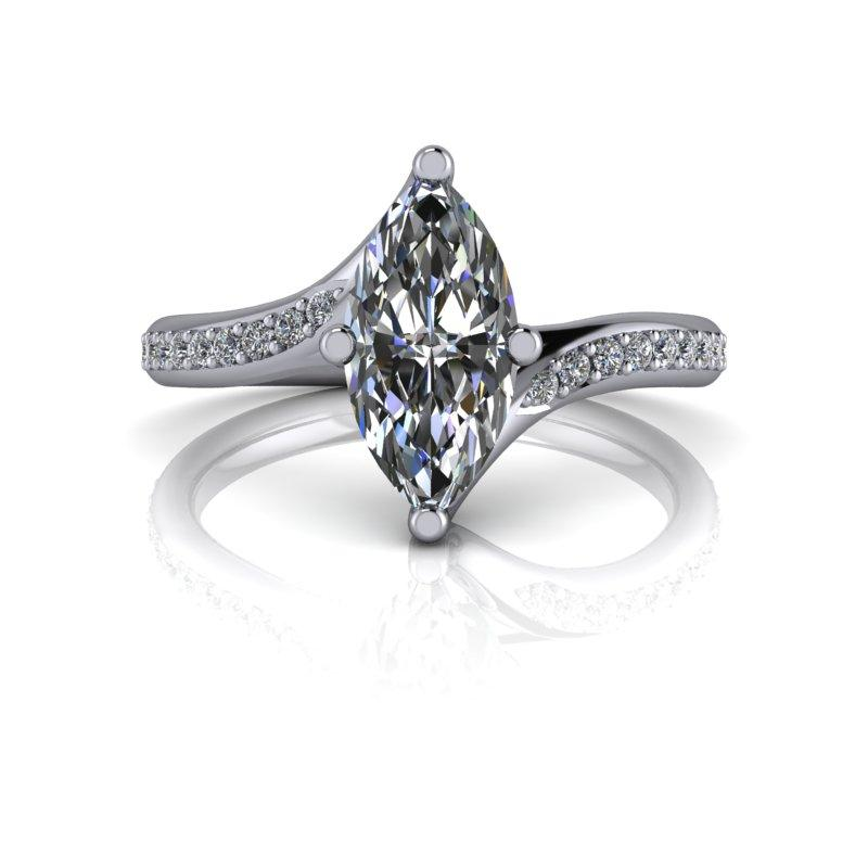 Marquise Cut Moissanite Engagement Ring 1.25 ctw-Bel Viaggio Designs