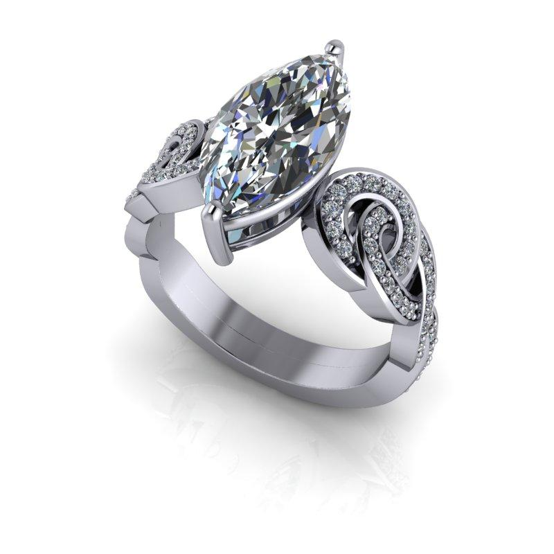 Marquise Cut Moissanite and Diamond Engagement Ring 3.31 ctw-Bel Viaggio Designs