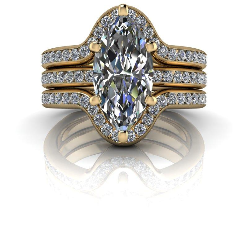 Marquise Cut Moissanite Engagement Ring/Bridal Set 2.52 ctw-Bel Viaggio Designs