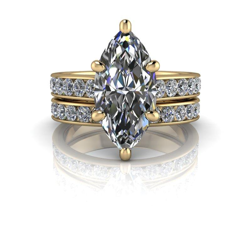 Marquise Cut Moissanite Engagement Ring/Bridal Set 2.93 ctw-Bel Viaggio Designs