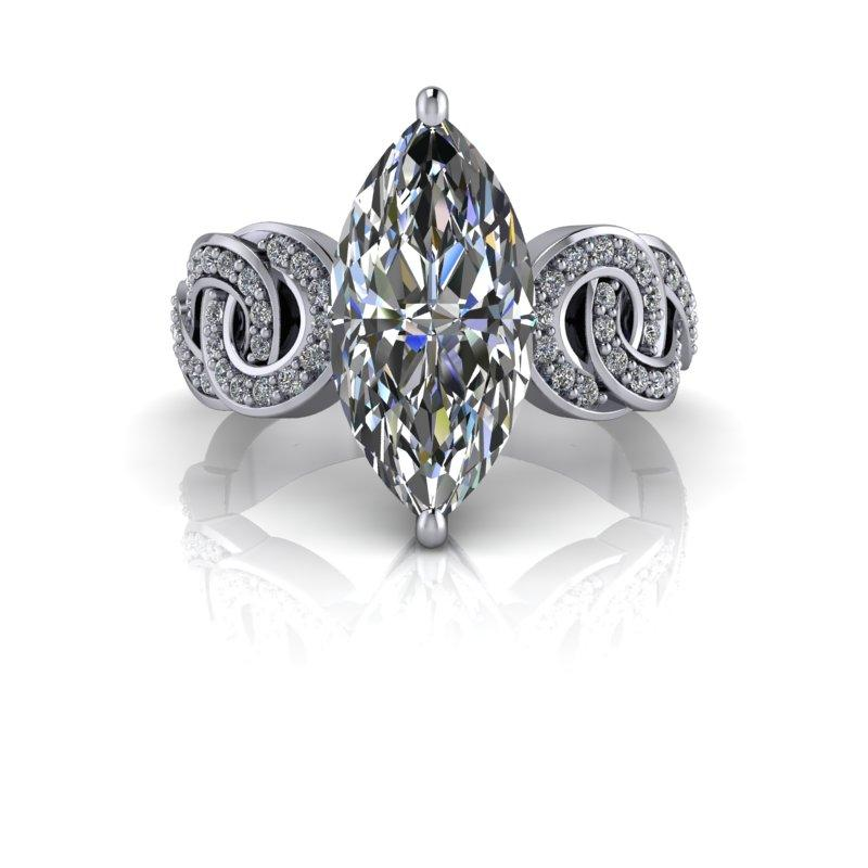 Marquise Cut Moissanite and Diamond Engagement Ring/Bridal Set 3.81 ctw-Bel Viaggio Designs