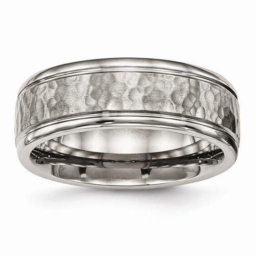 Men's Band - Titanium Polished With Satin Hammered Center Grooved Ring-Bel Viaggio Designs, LLC