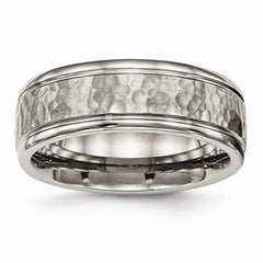 Men's Band - Titanium Polished With Satin Hammered Center Grooved Ring-BVD