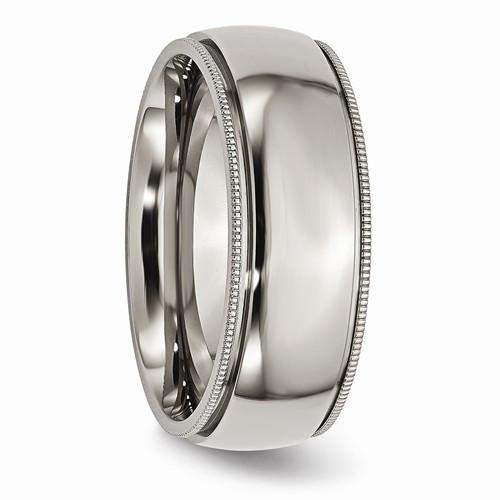 Men's Titanium Wedding Band Grooved And Beaded Edge 8mm Polished Band-Bel Viaggio Designs, LLC