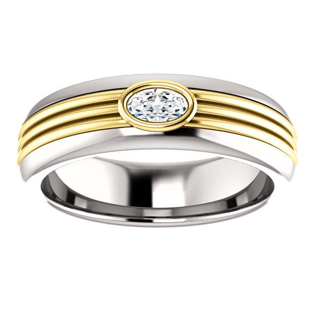 Men's Wedding Band, Colorless Moissanite Ring .26 ct-Bel Viaggio Designs