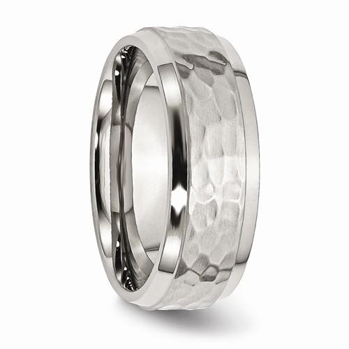 Men's Wedding Band Stainless Steel Beveled Edge 8mm-Bel Viaggio Designs