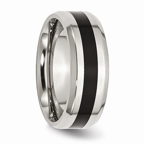 Men's Wedding Band Stainless Steel Black Enamel 8mm Band-Bel Viaggio Designs