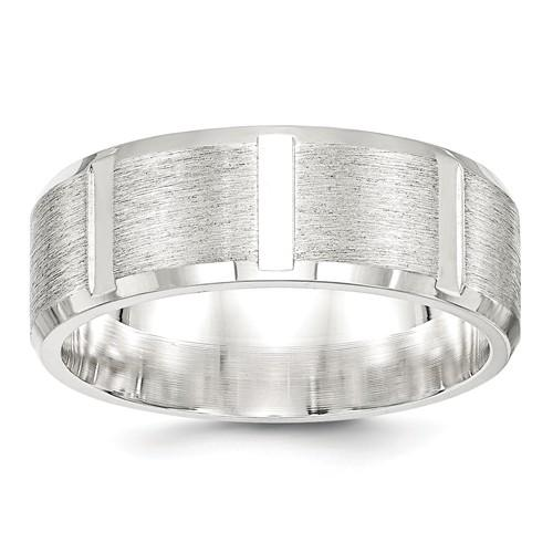 Men's Wedding Band Stainless Steel Brushed 8mm-Bel Viaggio Designs