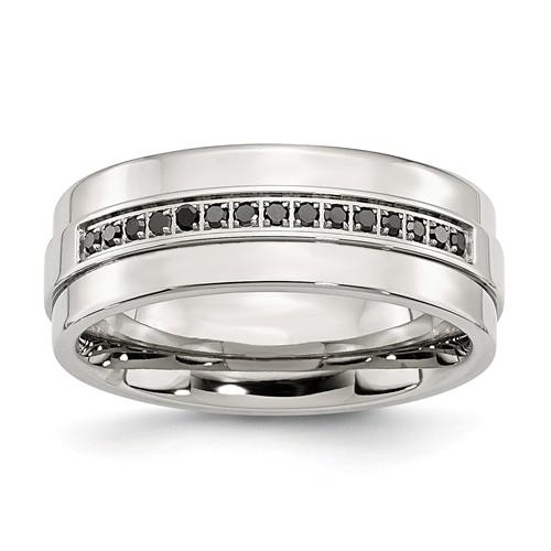 Men's Wedding Band Stainless Steel Polished And Black Diamonds 8mm Band-BVD