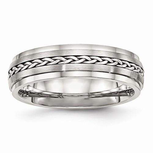 Men's Wedding Band Stainless Steel Polished And Brushed-BVD