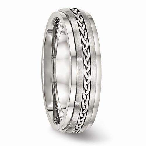 Men's Wedding Band Stainless Steel Polished And Brushed-Bel Viaggio Designs