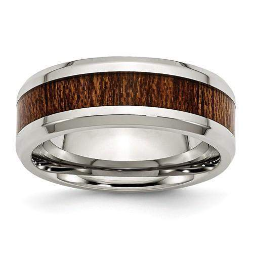 Men's Wedding Band Stainless Steel Polished Brown Wood Inlay Enameled 8.00mm-Bel Viaggio Designs