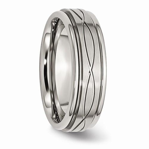Men's Wedding Band Stainless Steel Polished/Brushed Criss-Cross Design 7mm-Bel Viaggio Designs
