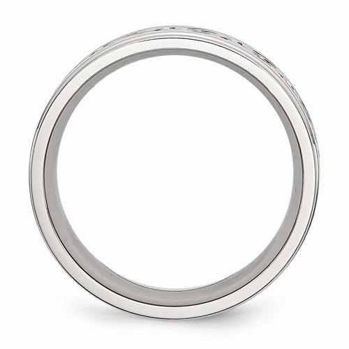 Men's Wedding Band Stainless Steel Scroll Design 9mm-Bel Viaggio Designs