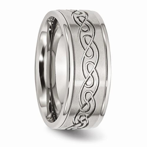 Men's Wedding Band Stainless Steel Scroll Design 9mm-BVD