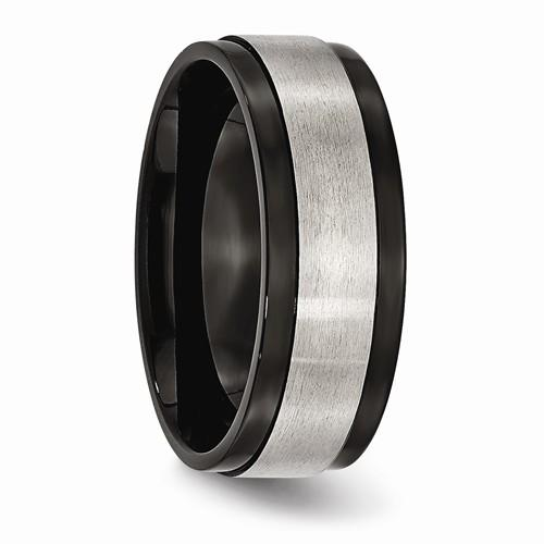 Men's Wedding Band Titanium Beveled Edge 8mm-Bel Viaggio Designs