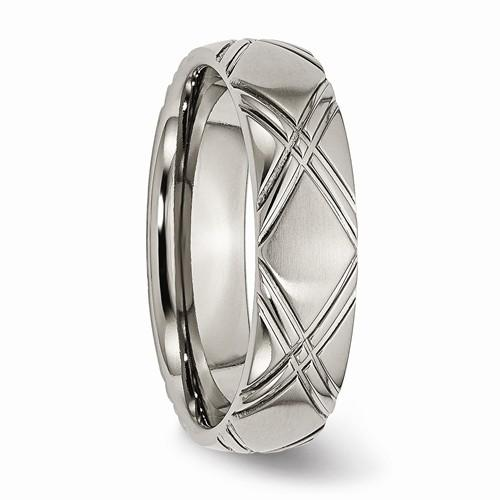 Men's Wedding Band Titanium Criss-Cross Design 6mm Band-Bel Viaggio Designs