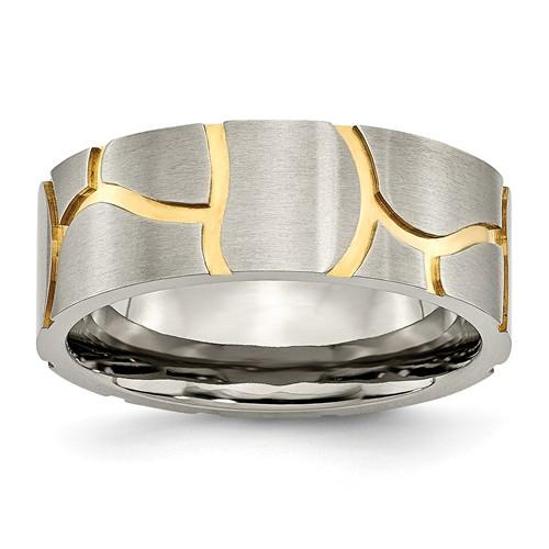 Men's Wedding Band Titanium Grooved Yellow 8mm Brushed Band-Bel Viaggio Designs