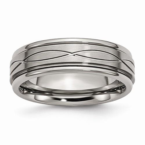 Men's Wedding Band Titanium Polished Criss-Cross Design Brushed Band-BVD