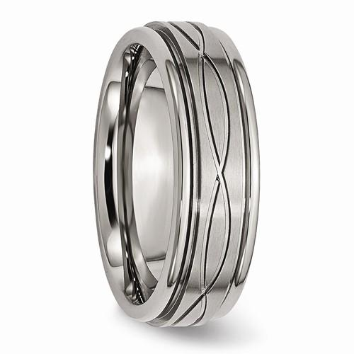 Men's Wedding Band Titanium Polished Criss-Cross Design Brushed Band-Bel Viaggio Designs
