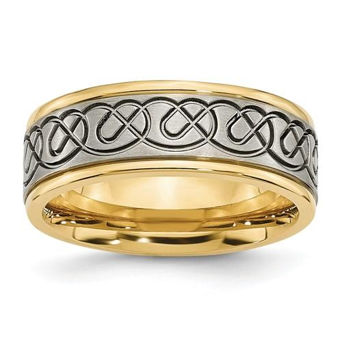 Men's Wedding Band Titanium Scroll Design 8mm-Bel Viaggio Designs